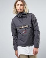 Napapijri Rainforest Overhead Jacket Hooded Layered Nylon In Dark Grey