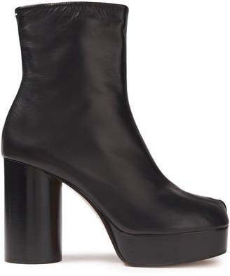 Maison Margiela Smooth And Patent-leather Platform Ankle Boots