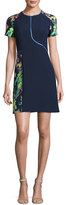 Jason Wu Short-Sleeve Floral Jacquard Sheath Dress, Navy
