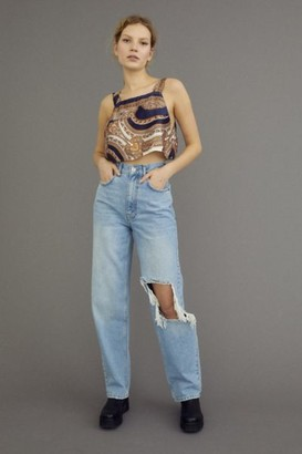 BDG High-Waisted Baggy Jean - Ripped Light Wash