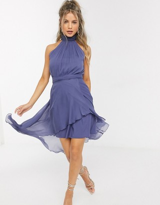 ASOS DESIGN halter dress with soft layered skirt in blue