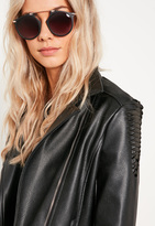 Missguided Black Round Frame T Bar Sunglasses