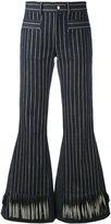L'Autre Chose striped flared trousers - women - Cotton/Silk/Linen/Flax - 42