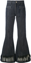 L'Autre Chose striped flared trousers - women - Silk/Cotton/Linen/Flax - 40