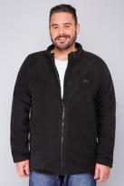 Yours Clothing BadRhino Black Zip Through Bonded Fleece