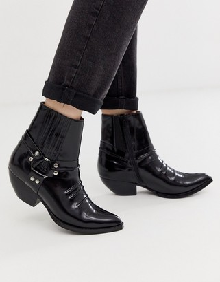 Jeffrey Campbell harness mid heel western boot-Black