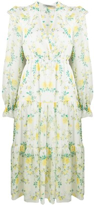 Philosophy di Lorenzo Serafini Floral Long-Sleeve Midi Dress