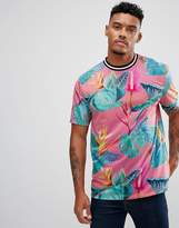Asos Relaxed T-Shirt With All Over Floral Print And Tipped Neck Trim
