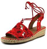 Franco Sarto Liona Women Open Toe Canvas Red Wedge Sandal.