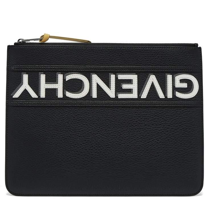 Givenchy Logo-appliqué large leather pouch