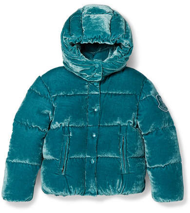 Moncler Ages 8 - 10 Caille Hooded Quilted Shell Down Velvet Jacket