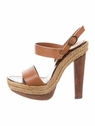 Christian Louboutin Leather Platform Sandals brown