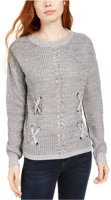 Hooked Up by Iot Juniors' Crisscross Mixed-Knit Sweater