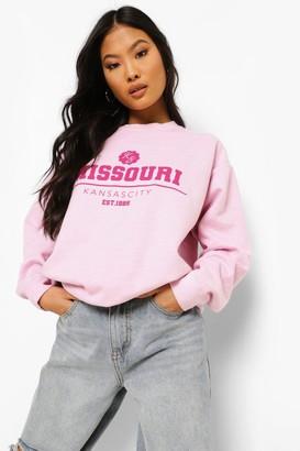 boohoo Petite Missouri Washed Oversized Sweatshirt