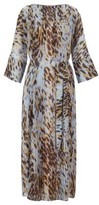 HUGO BOSS - Long Length Dress In Animal Print With Plisse Pleats - Patterned