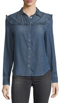 AG Jeans Joanna Spread-Collar Snap Denim Shirt w/ Ruffles