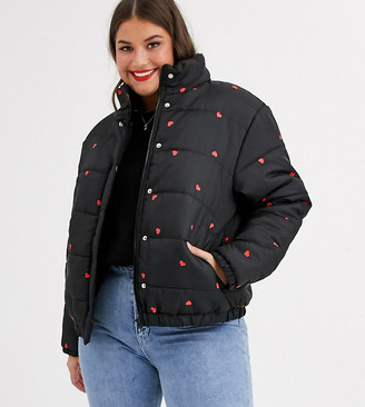 Daisy Street Plus padded jacket in ditsy heart print-Black