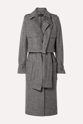 RtA Harlow Belted Wool Trench Coat - Gray