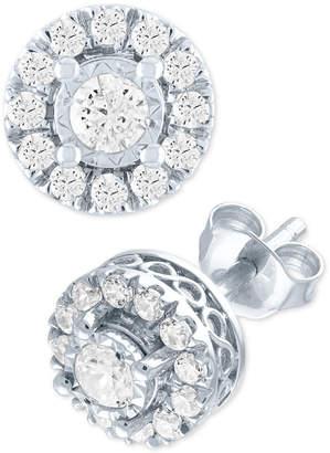 Forever Grown Diamonds Lab Grown Diamond Cluster Stud Earrings (1/2 ct. t.w.) in Sterling Silver