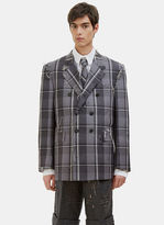 Thom Browne Men's Distressed Winter Madras Checked Blazer Jacket In Grey