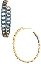 Freida Rothman Women's Baroque Blues Hoop Earrings