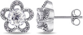 Laura Ashley 2 CT TW White Topaz and Diamond 10K White Gold Flower Stud Earrings