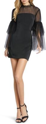 Mac Duggal Illusion Net Long Sleeve Cocktail Minidress