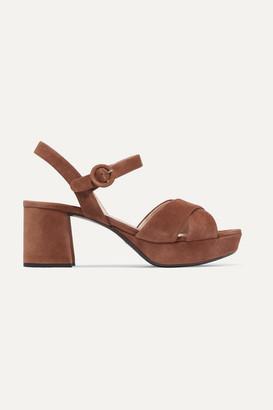 Prada Suede Platform Sandals - Tan