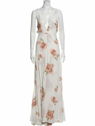 Reformation Floral Print Long Dress White
