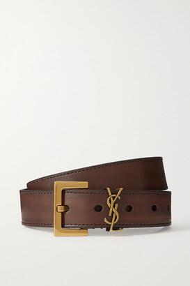 Saint Laurent Monogramme Leather Belt - Brown