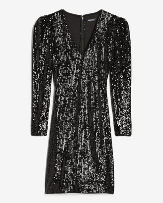 Express Sequin Puff Sleeve Sheath Dress