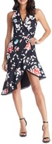 Dress the Population Floral Print Wrap Dress