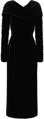 Christopher Kane Ruched Velvet Midi Dress