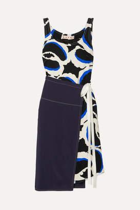 Marni Paneled Printed Cady Dress - Black