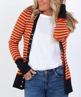 Coco & Main Women's Cardigans Rust - Rust & Navy Stripe Snap Button Cardigan - Women