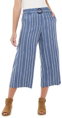 Candies Juniors' Candie's Belted Cropped Wide Leg Pants
