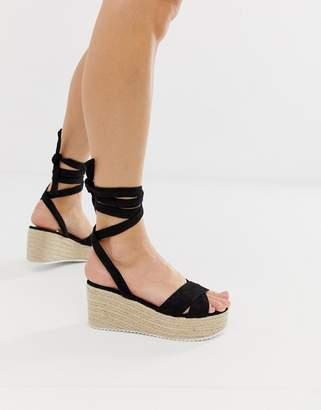Glamorous black tie up espadrille wedge sandals