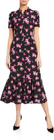 A.L.C. Dylan Floral Short-Sleeve Flounce Dress