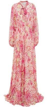 Giambattista Valli Tie-neck Floral-print Silk-georgette Gown