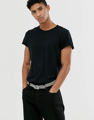 Cheap Monday t-shirt in reverse stitch black