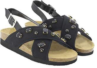 KOALA BAY Women's Assyria Ankle Strap Sandals, Black (Negro 002)