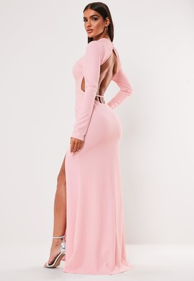 Missguided Blush High Neck Open Back Maxi Dress