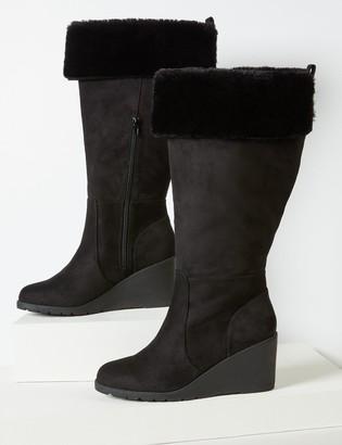 Lane Bryant Emma Faux-Fur Cuff Wedge Boot