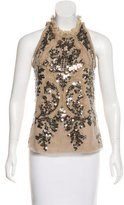 Elie Tahari Embellished Sleeveless Top