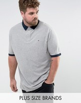 Tommy Hilfiger PLUS Contrast Cuff Polo Logo Collar Reverse Slim Fit in Gray Marl