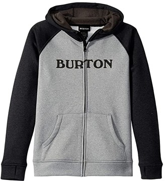 Burton Oak Full Zip Hoodie (Little Kids/Big Kids) (Gray Heather) Boy's Sweatshirt