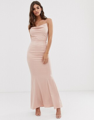 Lipsy cowl neck maxi dress in pink
