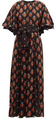 Gül Hürgel Angel-sleeve Box-pleated Poplin Dress - Navy Print