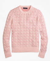 Brooks Brothers Heathered Cable Knit Crewneck Sweater