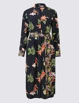 Marks and Spencer PETITE Floral Print Shirt Midi Dress